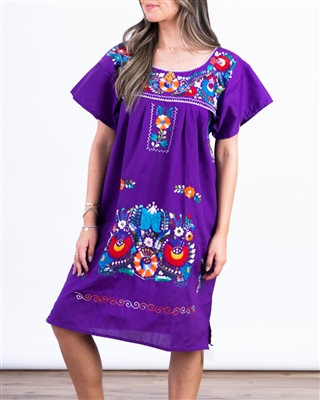 Knee Length Mexican Embroidered Pueblo Dress - Purple