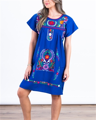 Knee Length Mexican Embroidered Pueblo Dress - Royal Blue