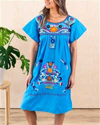 Knee Length Mexican Embroidered Pueblo Dress - Turquoise
