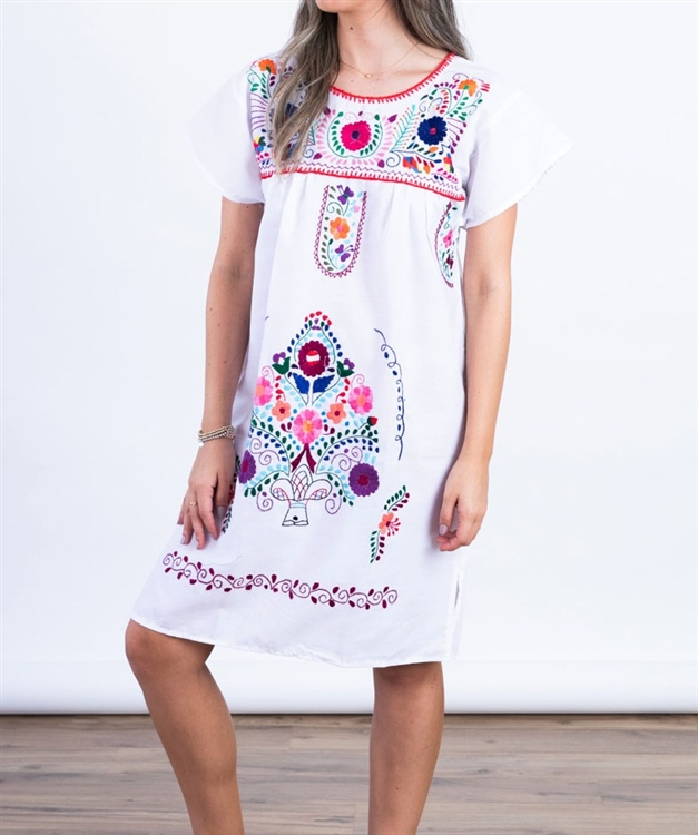 bba709b11a36a7 Knee Length Mexican Embroidered Pueblo Dress - White