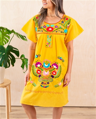 Knee Length Mexican Embroidered Pueblo Dress - Yellow