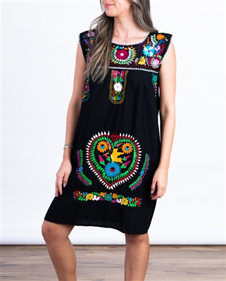 Shop Sleeveless Mexican Embroidered Dresses Black