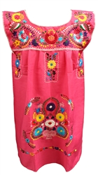 Shop Sleeveless Mexican Embroidered Dresses Pink