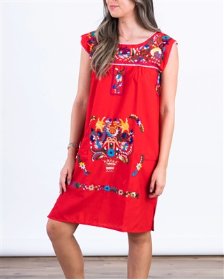 Shop Sleeveless Mexican Embroidered Dresses Red