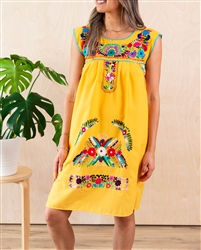 Shop Sleeveless Mexican Embroidered Dresses Yellow
