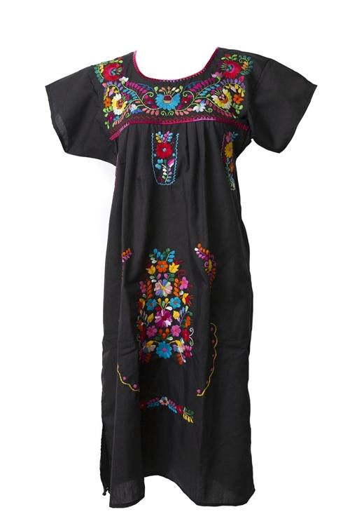 Mexican Embroidered Pueblo Dress Black