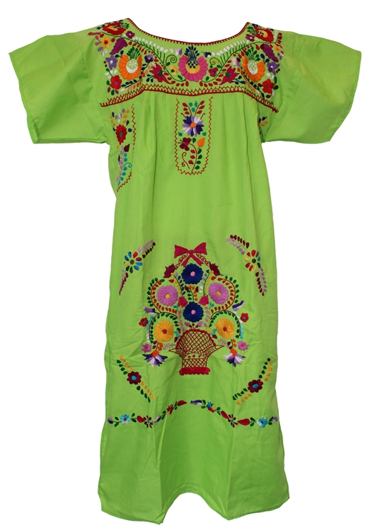 Mexican Embroidered Pueblo Dress - Lime Green