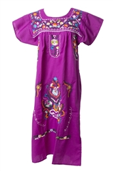 Mexican Embroidered Pueblo Dress - Magenta