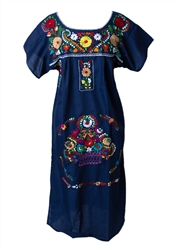 Mexican Embroidered Pueblo Dress - Navy Blue