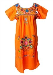 Mexican Embroidered Pueblo Dress - Orange