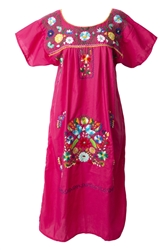 Mexican Embroidered Pueblo Dress - Pink