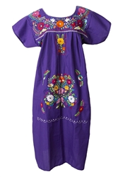 Mexican Embroidered Pueblo Dress - Purple