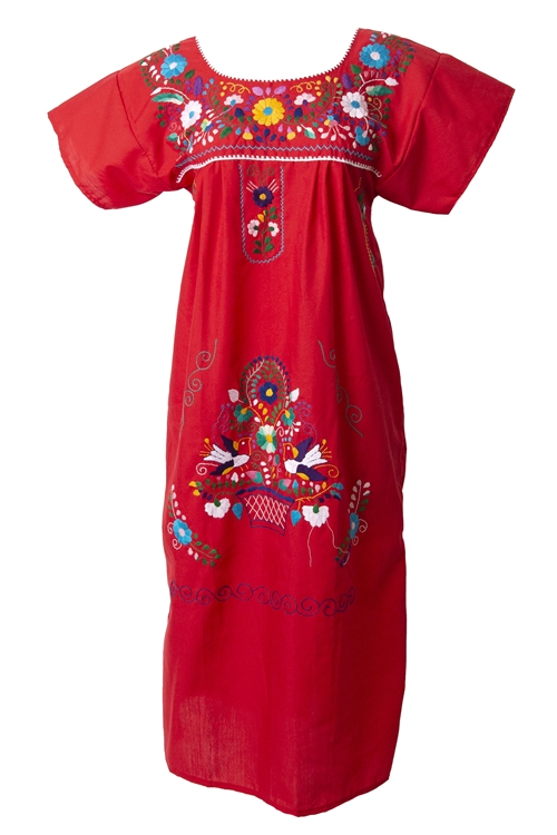 Mexican Embroidered Pueblo Dress - Red