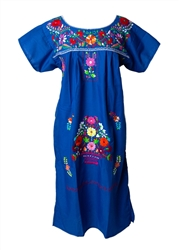 Mexican Embroidered Pueblo Dress - Royal Blue