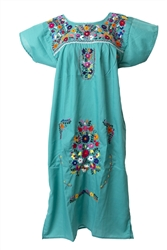 Mexican Embroidered Pueblo Dress - Teal