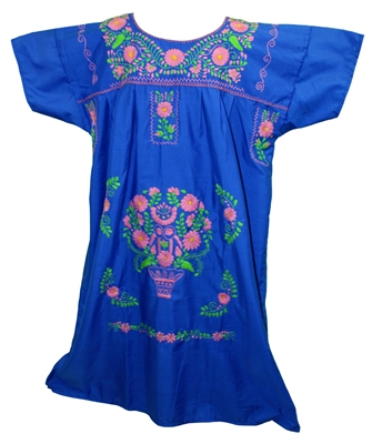 (4XL) Mexican Embroidered Pueblo Dress - Unique 253