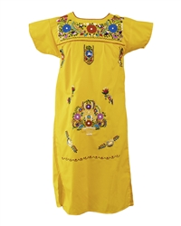 Mexican Embroidered Pueblo Dress - Yellow