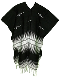 Tribal Serape Mexican Poncho - Black/White