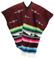 Tribal Serape Mexican Poncho - Burgundy