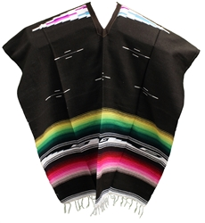 Tribal Serape Mexican Poncho - Dark Brown