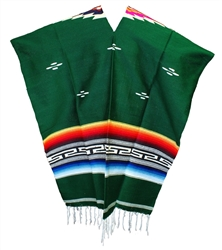 Tribal Serape Mexican Poncho - Green