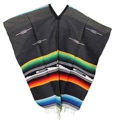 Tribal Serape Mexican Poncho - Multi 100