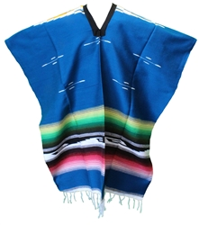 Tribal Serape Mexican Poncho - Pearl Blue