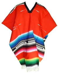 Tribal Serape Mexican Poncho - Red
