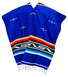 Tribal Serape Mexican Poncho - Royal Blue
