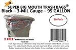 95 Gallon Trash Bags 10 Pack Super Big Mouth Large Industrial 95 GAL Garbage Bags Can Liners