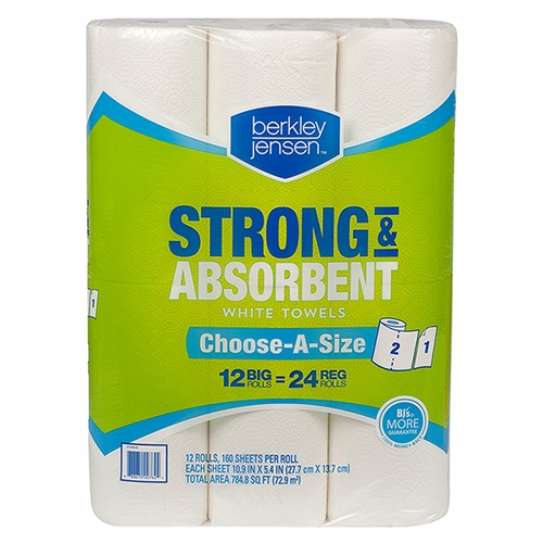 Superbe Berkley Jensen Premium Quilted Kitchen Paper Roll Towels SELECT A SIZE   12  X 160ct