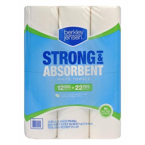 Berkley Jensen Premium Quilted Kitchen Paper Roll Towels Full Size Sheets  12 X 81ct