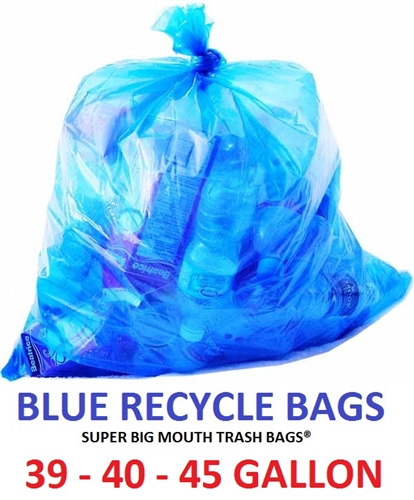 39 40 45 Gallon Blue Recycle Trash Bags X 46 1 Mil Flat Packed 100