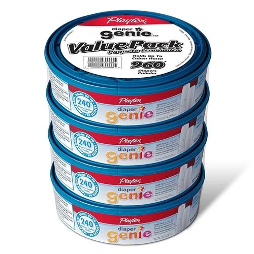 Playtex Diaper Genie Refill Bags 4 Refills Hold 240 Diapers Each 960 Total