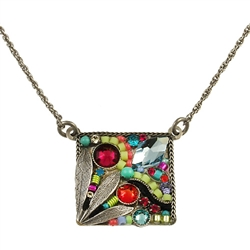 Firefly Luxe Square Leaf Necklace in Multi-color