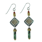 Tabra Embossed Silver, Bronze & Jasper Earrings