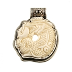 Tabra Carved Bone Dragon Pendant