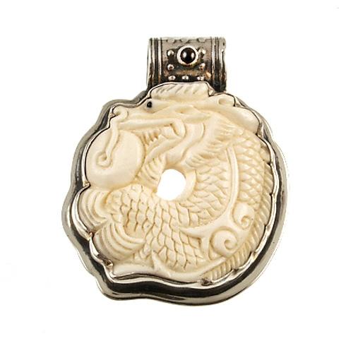 Carved Carved Bone Dragon Pendant By Tabra Designs