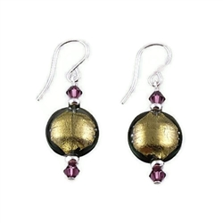 Olive-Colored Glass Earrings SS