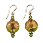Amber and Lime Colored Glass Earrings GF