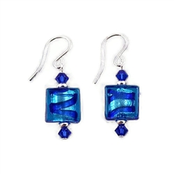 Blue and Aqua Glass Earrings SS