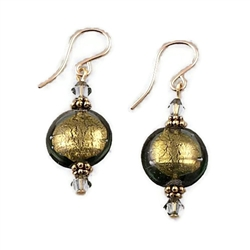 Olive Glass Earrings GF
