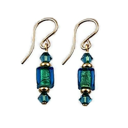Teal Baby Cube Glass Earrings GF