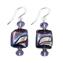 Amethyst Bluino Square Glass Earrings SS
