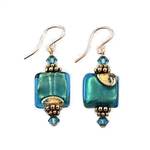 Teal and Gold Glass Earrings GF