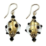 Black and Gold Glass Earrings GF