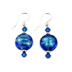 Aqua/Cobalt Glass Earrings SS