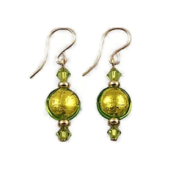 Kiwi-Colored Glass Earrings GF