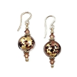 Chocolate & Gold Glass Earrings GF