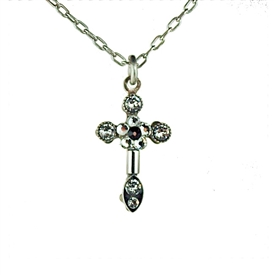 Firefly Cross Rainbow Colors Silver Tone